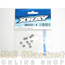 XRAY 303122-K Alu Shim 3x6x1.0mm - Black (10)