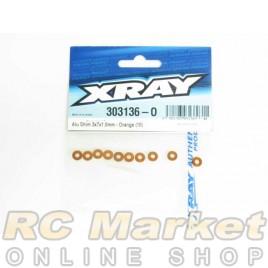 XRAY 303136-O Alu Shim 3x7x1.0mm - Orange (10)