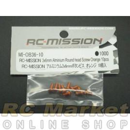 RC MISSION MI-OB36-10 3X6mm Aluminum Round Head Screw Orange 10pcs