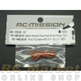 RC MISSION MI-OB38-10 3x8mm Aluminum Round Head Screw Orange 10pcs