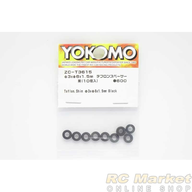 YOKOMO ZC-T3615 Teflon. Shim φ3xφ6x1.5mm Black