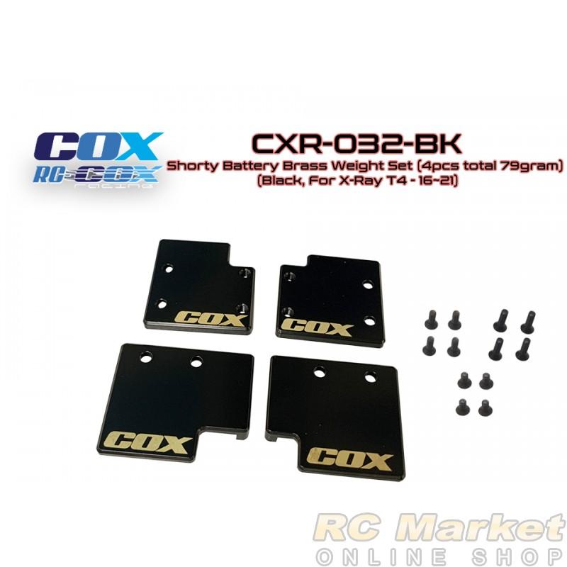 RC-COX CXR-032-BK Shorty Battery Brass Weight Set (4pcs Total 76.7gram) (Black, For Xray T4'16~21)