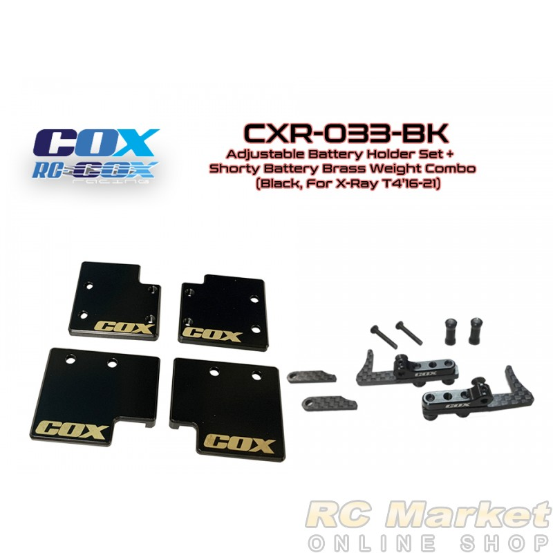RC COX CXR-033-BK Adjustable Battery Holder Set+Shorty Battery Brass Weight Combo (Black, For Xray T4'16-21)