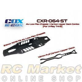 RC-COX CXR-064-ST Alu Low Flex Chassis + Carbon Upper Deck Combo (For Xray T4'21)