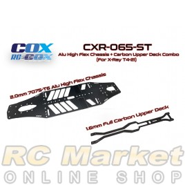 RC-COX CXR-065-ST Alu High Flex Chassis + Carbon Upper Deck Combo (For Xray T4'21)