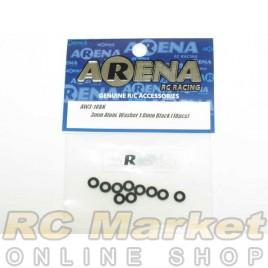 ARENA AW3-10BK 3mm Alum. Washer 1.0mm Black (10pcs)