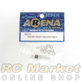 ARENA AW3-15S 3mm Alum. Washer 1.5mm Silver (10pcs)