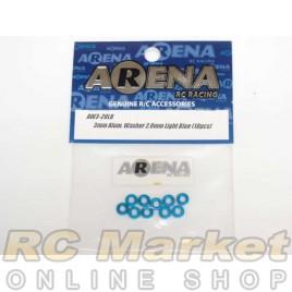 ARENA AW3-20LB 3mm Alum. Washer 2.0mm Light Blue (10pcs)