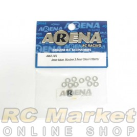 ARENA AW3-20S 3mm Alum. Washer 2.0mm Silver (10pcs)