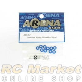 ARENA AW3-25B 3mm Alum. Washer 2.5Mm Blue (10pcs)
