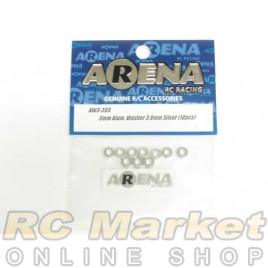 ARENA AW3-30S 3mm Alum. Washer 3.0mm Silver (10pcs)