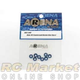 ARENA AW3-CWB Alum. M3 Countersunk Washer Blue (8pcs)