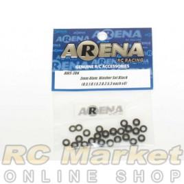ARENA AWS-3BK 3mm Alum. Washer Set Black (0.5,1.0,1.5,2.0,2.5,3 Each X4)
