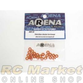 ARENA AWS-3O 3mm Alum. Washer Set Orange (0.5,1.0,1.5,2.0,2.5,3 Each X4)