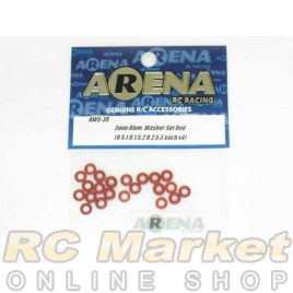 ARENA AWS-3R 3mm Alum. Washer Set Red (0.5,1.0,1.5,2.0,2.5,3 Each X4)