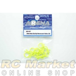 ARENA 6mm Body Clip Big Fluorescent Yellow (10)