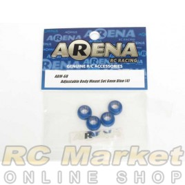 ARENA ABM-6B Adjustable Body Mount Set 6mm Blue (4)