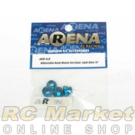 ARENA ABM-6LB Adjustable Body Mount Set 6mm Light Blue (4)