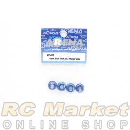 ARENA ALN-4SB 4mm Alum. Lock Nut Serrated Blue