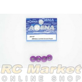 ARENA ALN-4SP 4mm Alum. Lock Nut Serrated Purple