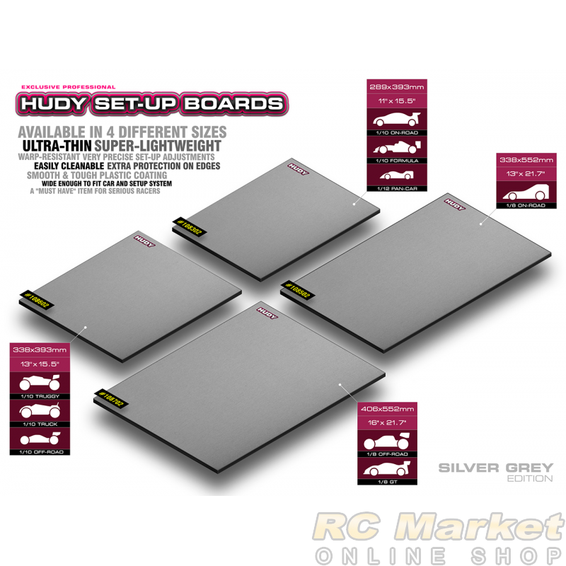 HUDY 108702 Flat Set-Up Board For 1/8 Off-Road & GT - Silver Grey