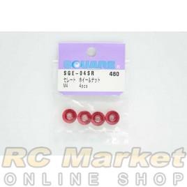 SQUARE SGE-04SR Aluminum M4 Flanged Cerate Nut 4 pcs. (Red)