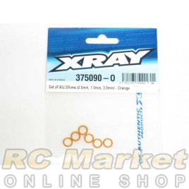 XRAY 375090-O X12 Set of Alu Shims (0.5mm, 1.0mm, 2.0mm) - Orange
