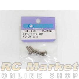 SQUARE FTR-310 3x10 Titanium Hexagon Flange Screw 4pcs