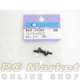 SQUARE NAR-305BK 3x5 Alum. Round Head Hex Screw Black