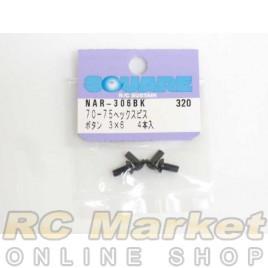 SQUARE NAR-306BK 3x6 Alum. Round Head Hex Screw Black