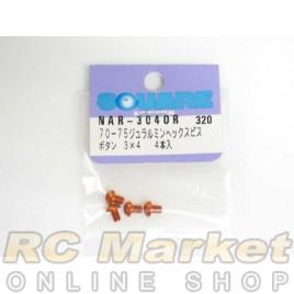 SQUARE NAR-304OR 3x4 Alum. Round Head Hex Screw Orange