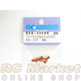 SQUARE NAR-305OR 3x5 Alum. Round Head Hex Screw Orange