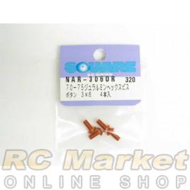 SQUARE NAR-306OR 3x6 Alum. Round Head Hex Screw Orange