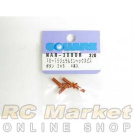 SQUARE NAR-308OR 3x8 Alum. Round Head Hex Screw Orange