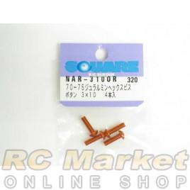 SQUARE NAR-310OR 3x10 Alum. Round Head Hex Screw Orange
