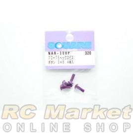 SQUARE NAR-308P 3x8 Alum. Round Head Hex Screw Purple