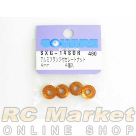 SQUARE SXG-14SOR 4mm Lock Nut Serrated Orange