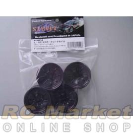 ACTIVE STR054 8 Spoke Road Wheels (Black Chrome) W/4pcs for Mini Size