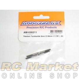"""ARROWMAX 030211 Titanium Turnbuckle 3MM X 48MM (1-7/8"""") (2)"""