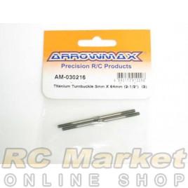 """ARROWMAX 030216 Titanium Turnbuckle 3MM X 64MM (2-1/2"""") (2)"""