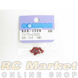 SQUARE NAR-306R 3X6 Alum. Round Head Hex Screw Red