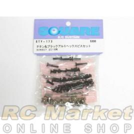 SQUARE Titanium & Black Aluminum Hex Screw Set (for Yokomo BD7'16)
