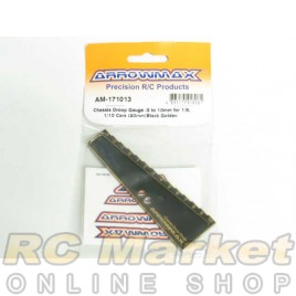 ARROWMAX 171013 Chassis Droop Gauge -3 to 10mm for 1/8, 1/10 Cars (20mm) Black Golden