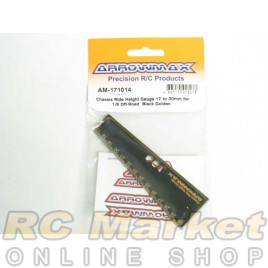 ARROWMAX 171014 Chassis Ride Height Gauge 17 to 30mm for 1/8 Off-Road Black Golden