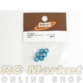 SWIRL SW-203LB M3 Thin Nylon Nut Light Blue 6pcs