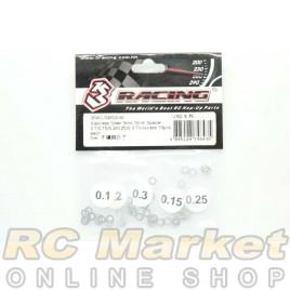 3RACING 3RAC-SW05/V2 M4 Stainless Steel 3mm Shim Spacer 0.1/0.15/0.2/0.25/0.3 Thickness 10pcs each