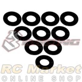3RACING 3RAC-WF305/BK Aluminium M3 Flat Washer 0.5mm - 10 pcs - Black