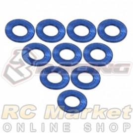 3RACING 3RAC-WF305/BU Aluminium M3 Flat Washer 0.5mm - 10 pcs - Blue