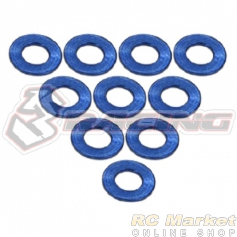 3RACING 3RAC-WF305/BU Aluminium M3 Flat Washer 0.5mm - 10 pcs - Blue