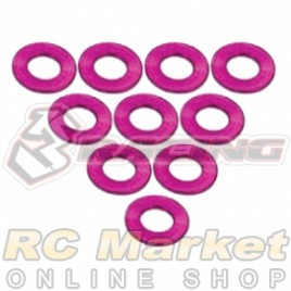 3RACING 3RAC-WF305/PK Aluminium M3 Flat Washer 0.5mm - 10 pcs - Pink